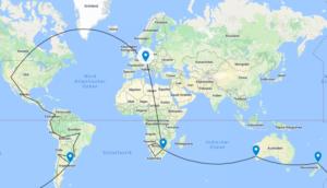 Weltkarte mit allen Zielen der Weltreise